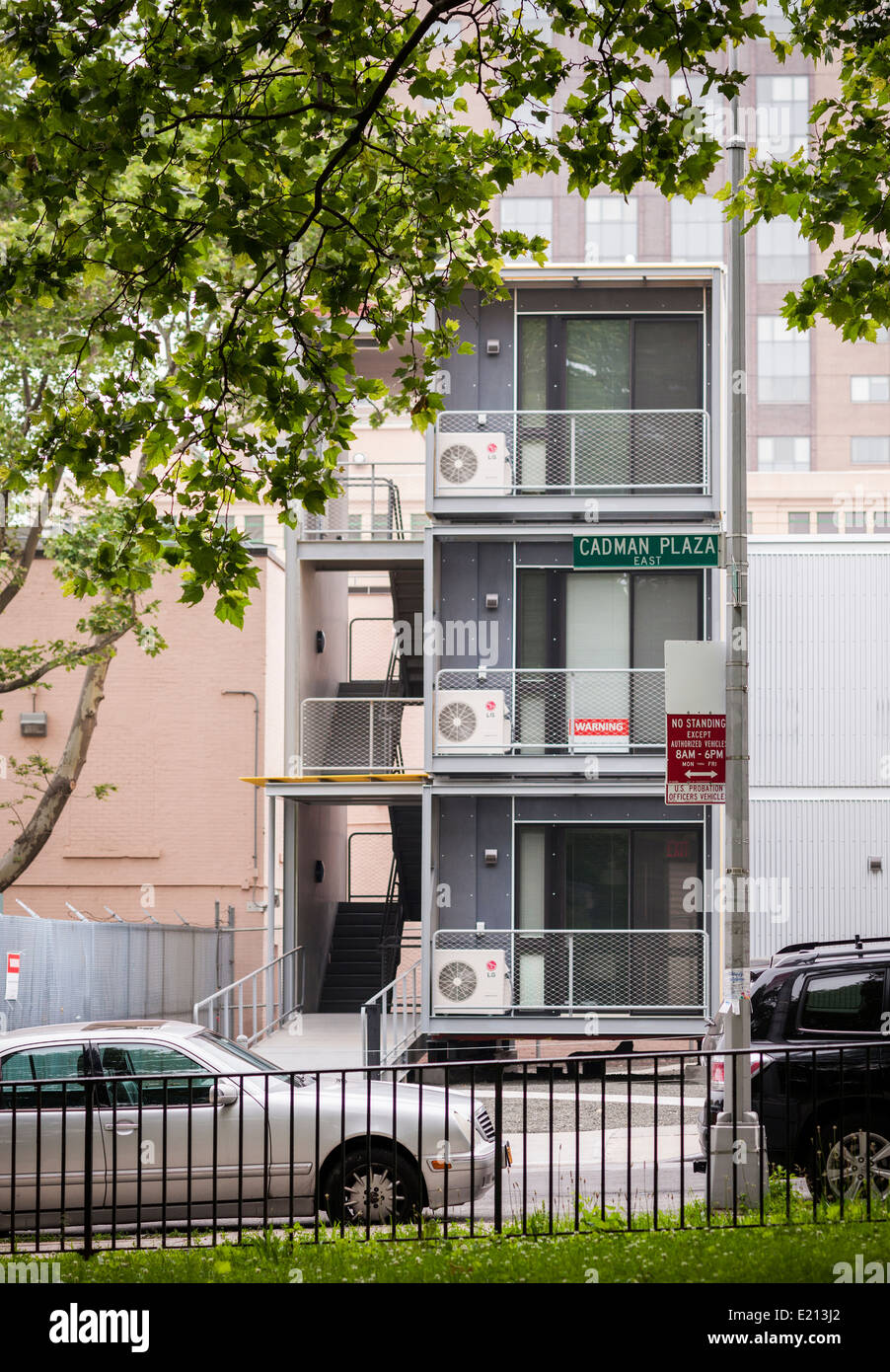 A prototype of temporary emergency housing is erected in Brooklyn in New York by the Office of Emergency Management - Stock Image