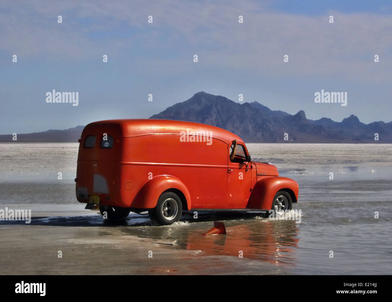 Flooded Bonneville Salt Flats in Utah with the dragster Stock Photo