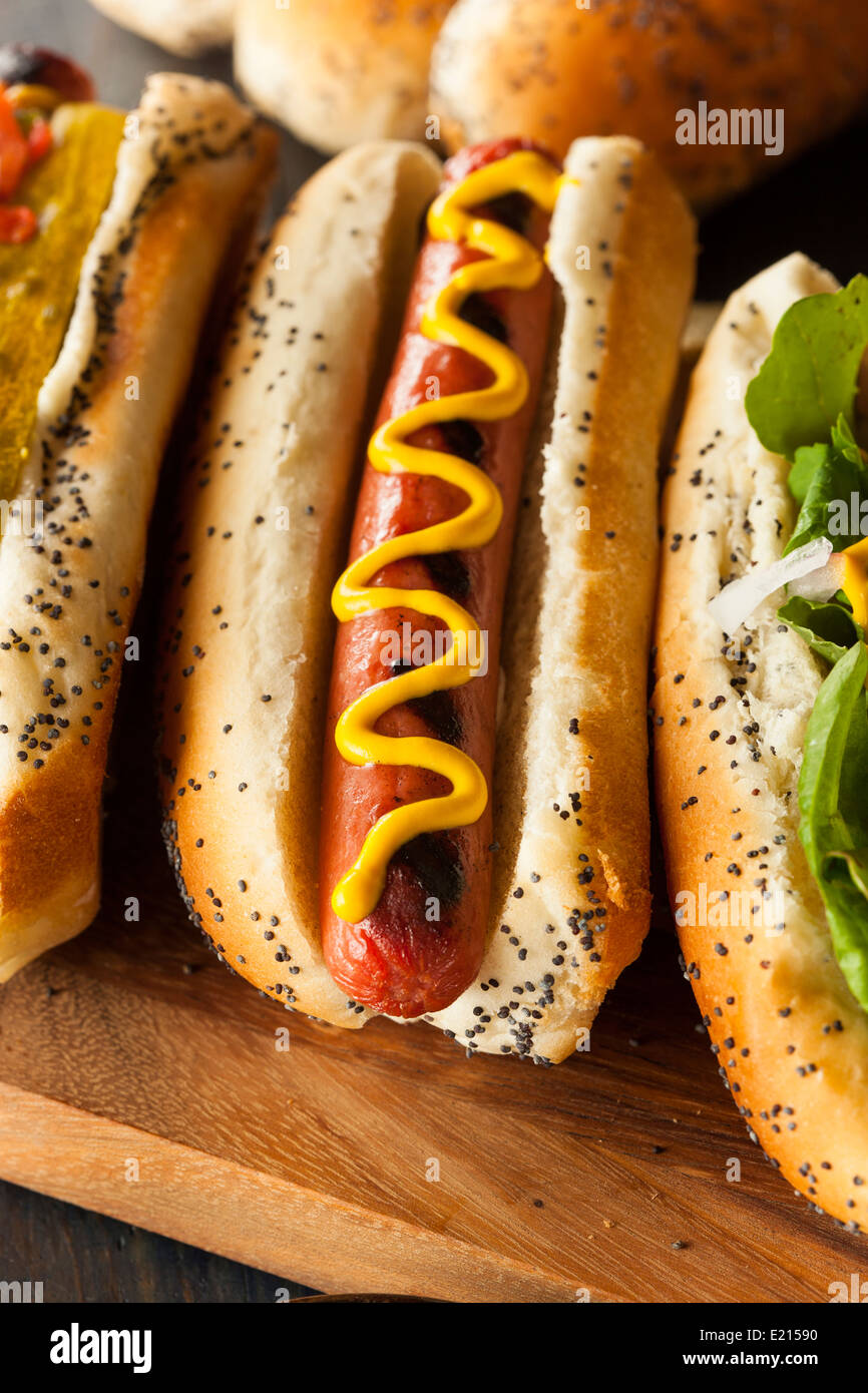 Gourmet Grilled All Beef Hots Dogs with Sides and Chips - Stock Image