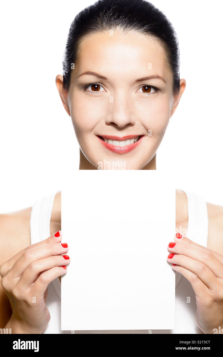 business woman holding card board stock photos business woman