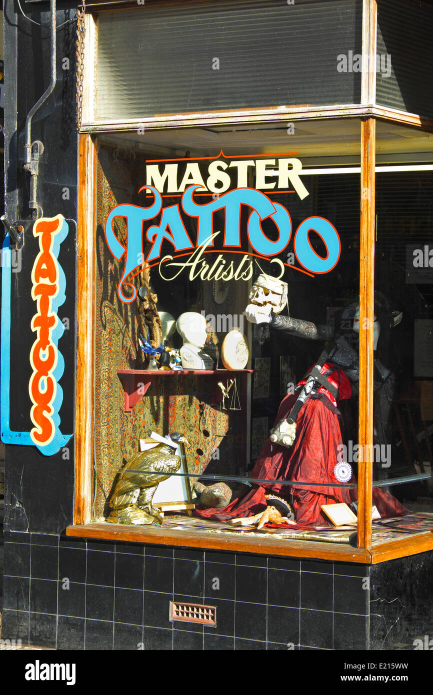 Tattoo shop George Street Hastings Old Town, East Sussex, England, UK - Stock Image