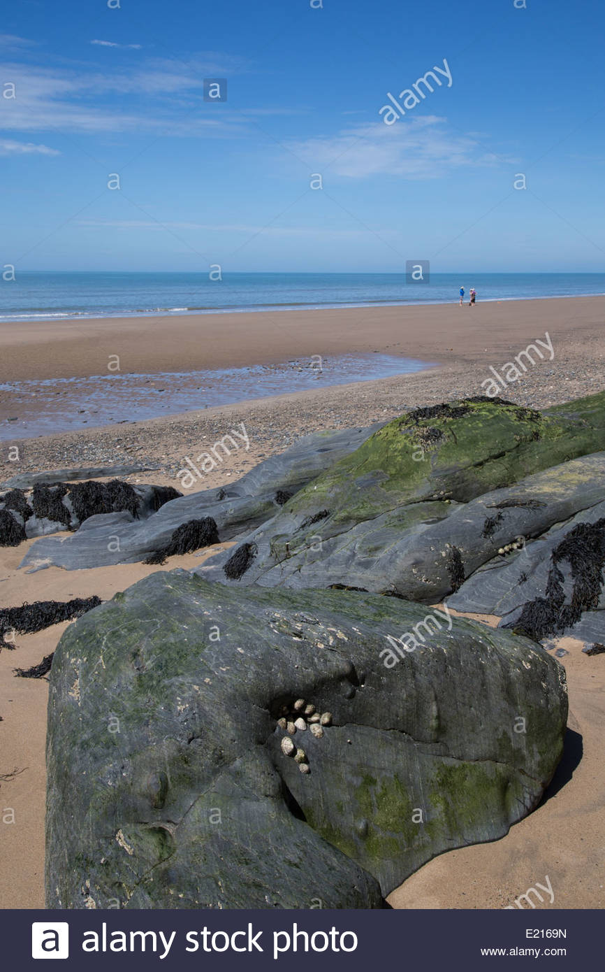 The award winning Welsh beach at Penbryn on Cardigan Bay, Ceredigion, on the Wales Coast path - Stock Image