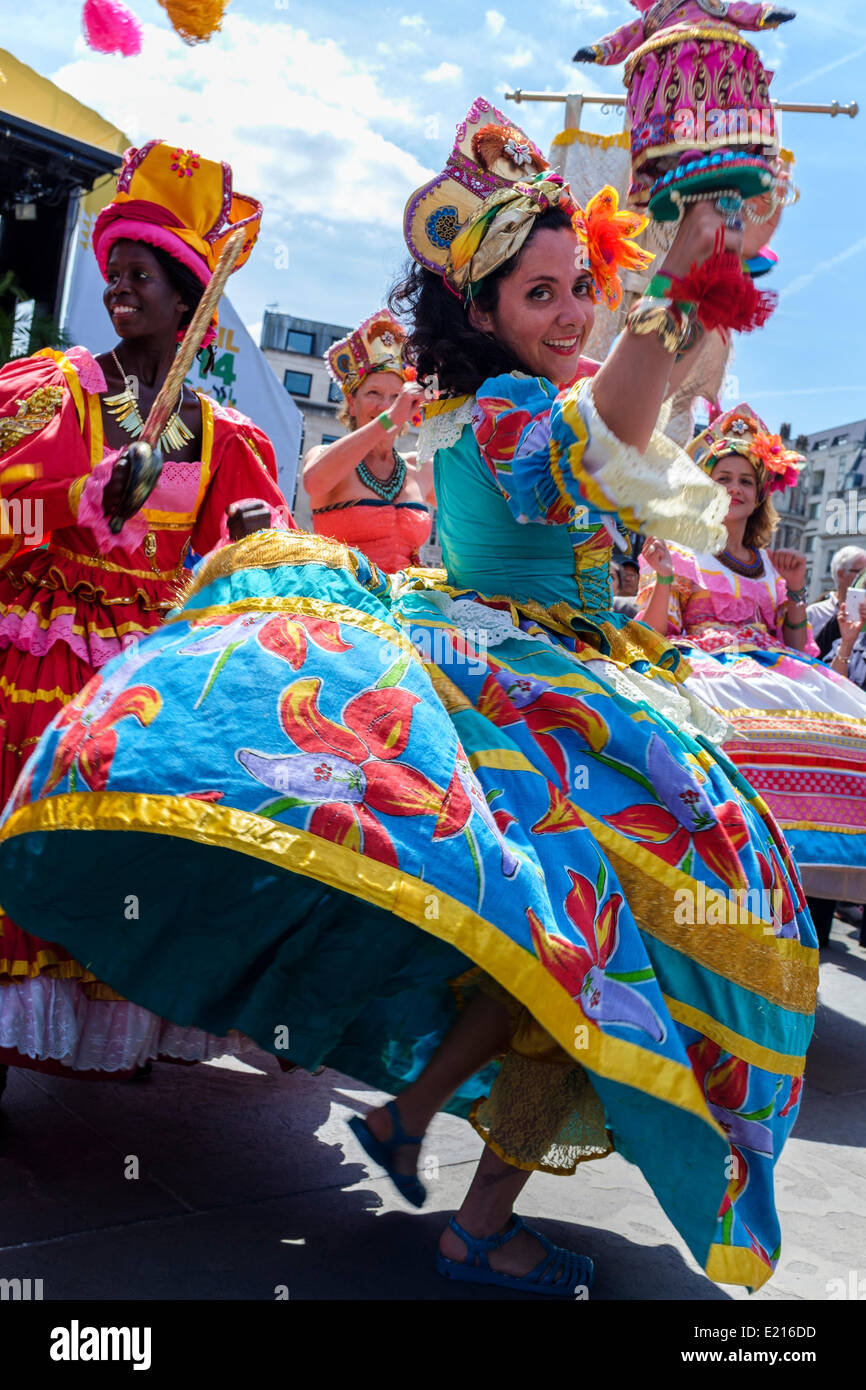 Maracatudo Mafua dancers entertain visitors to the Brazil Day celebrations in Trafalgar Square, London, UK at the - Stock Image