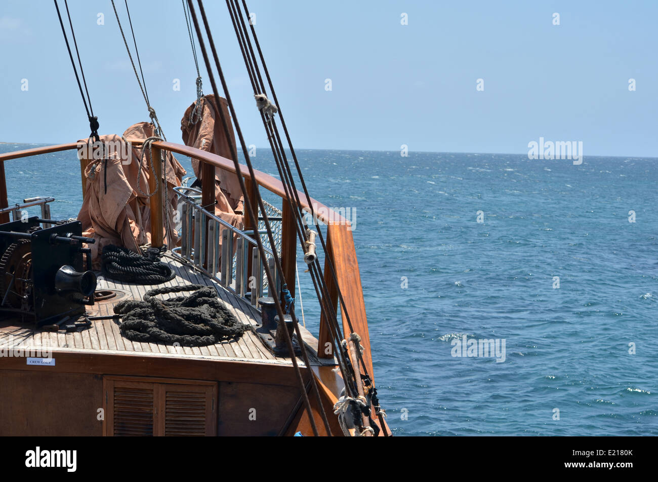 Rigging on the Jolly Roger II sailing off the coast of Cyprus - Stock Image