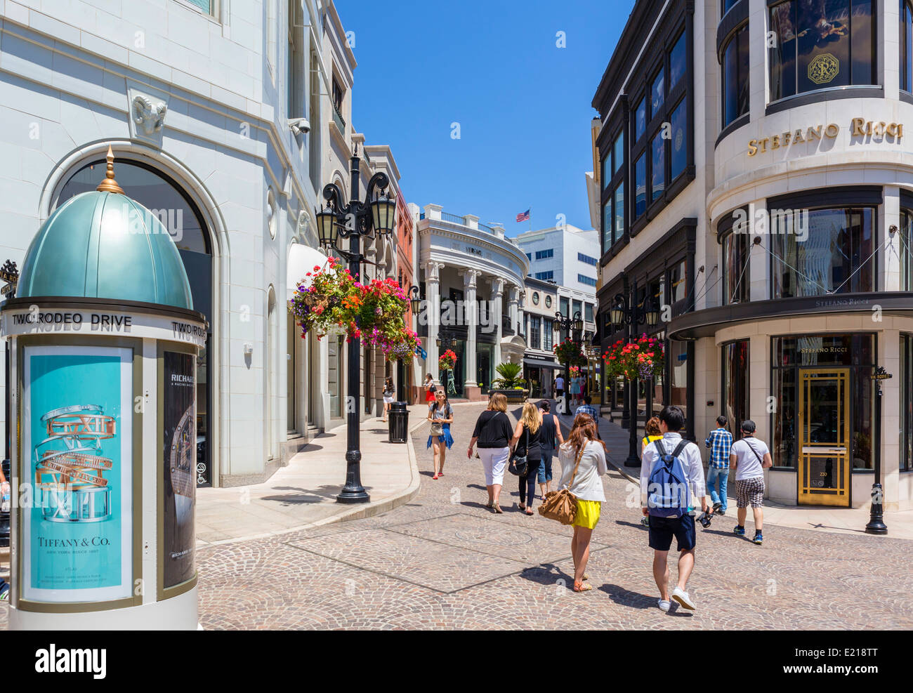 Shops at Two Rodeo Drive, Beverly Hills, Los Angeles, California, USA Stock Photo