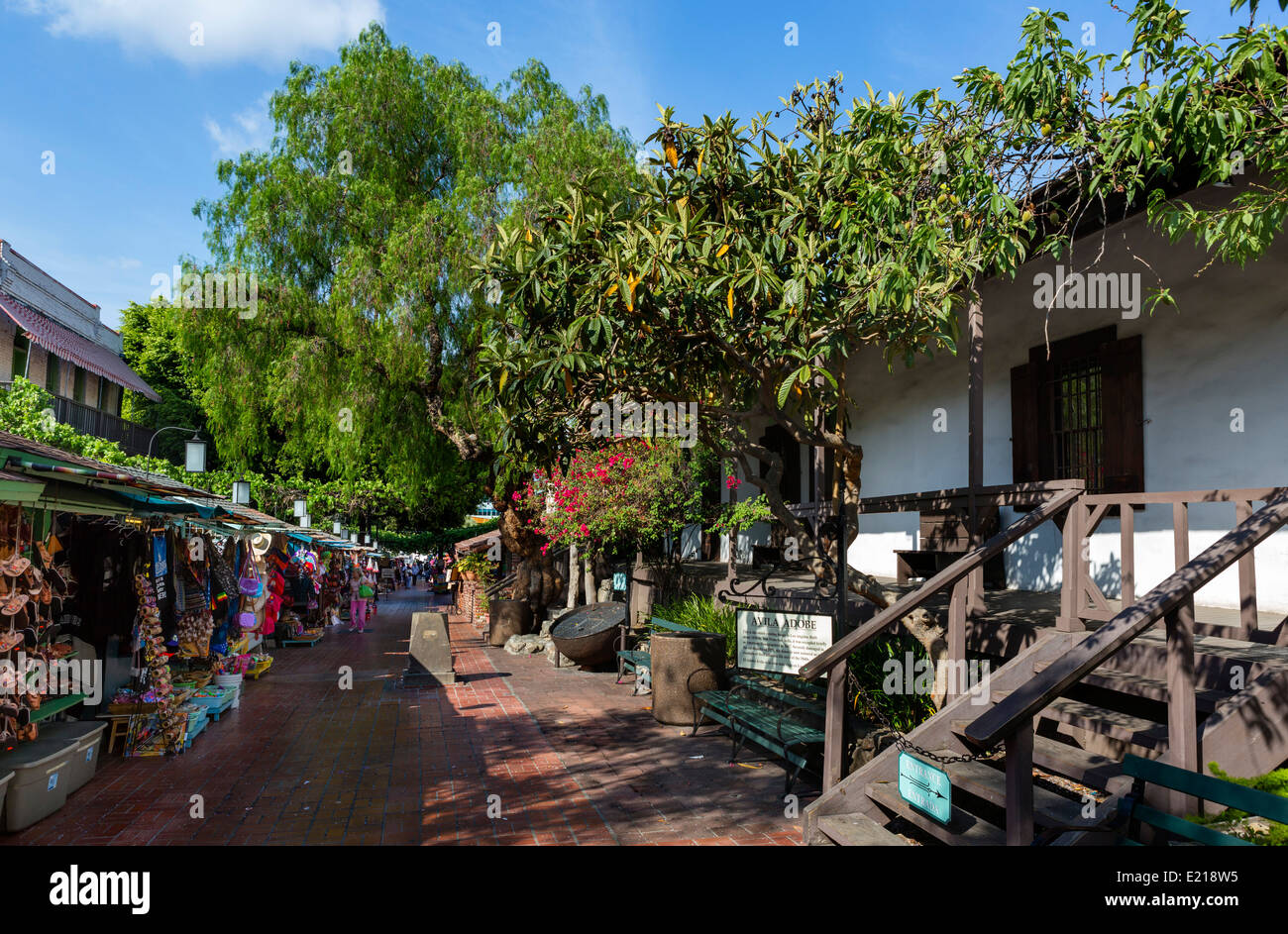 Stalls outside the Avila Adobe on Olvera Street in downtown Los Angeles, California, USA - Stock Image