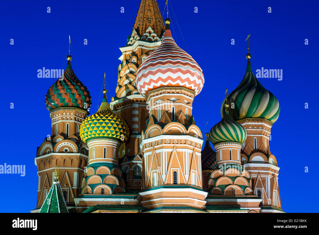 Russia St. Basil's Cathedral in Moscow at Dusk - Stock Image