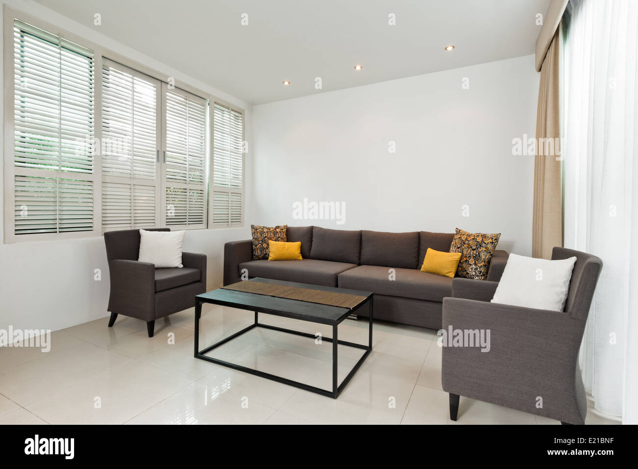 Bright Living room with grey sofa and minimalistic decoration Stock ...