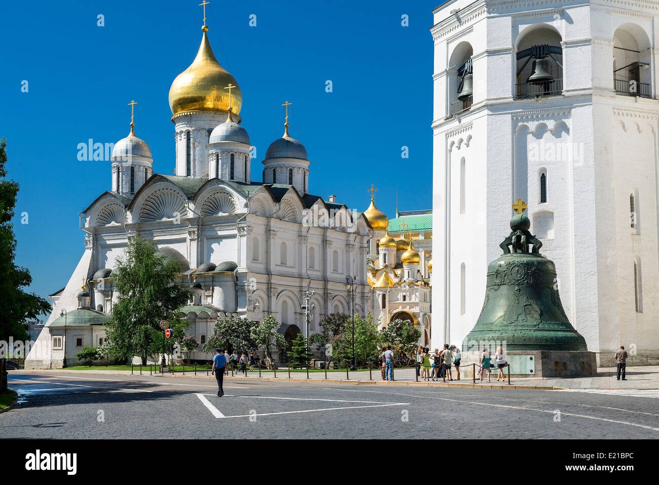 Moscow, Kremlin, Tsar Bell and the Archangel's Cathedral - Stock Image