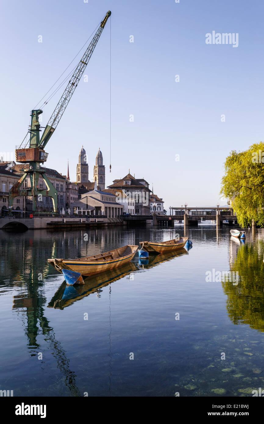 Zurich, the Limmat river with port crane, Switzerland. - Stock Image