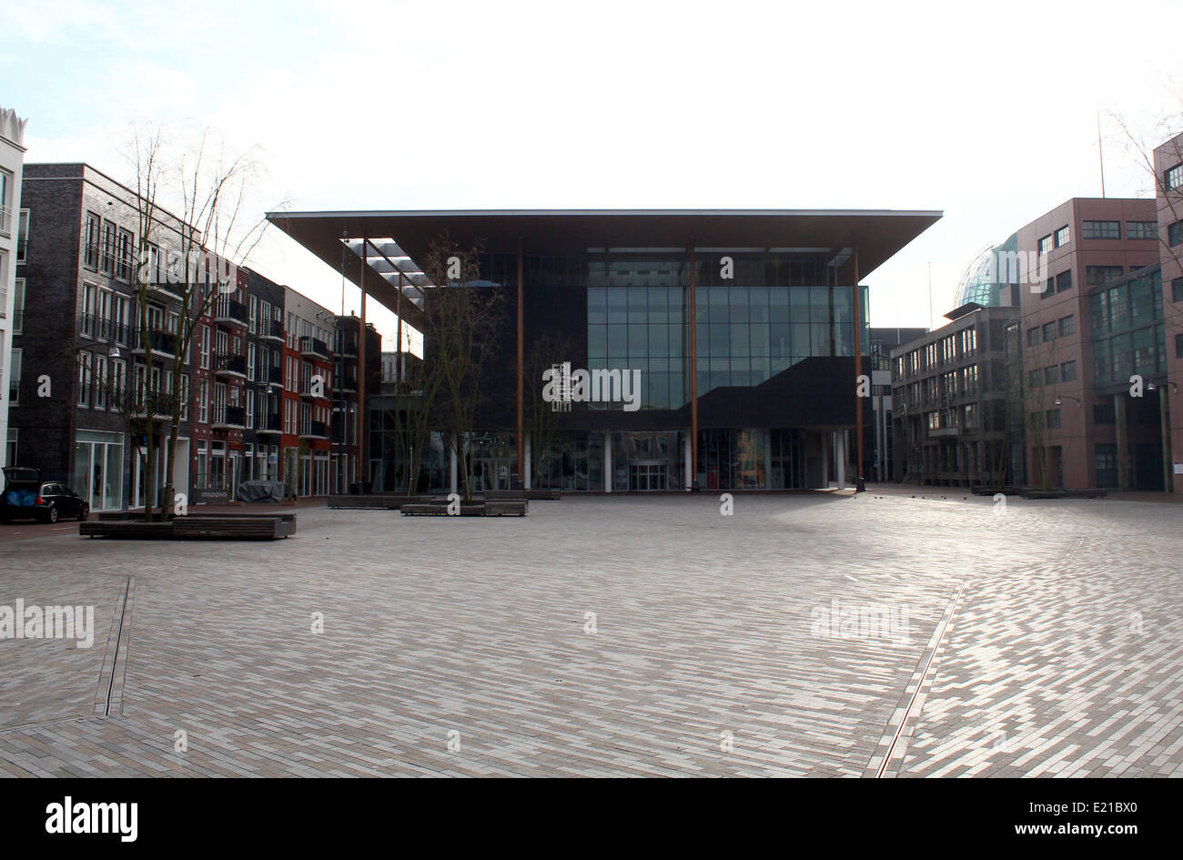 New Frisian Museum ( Frysk Museum) building at  Wilhelminaplein (Zaailand) square in Leeuwarden, The Netherlands, - Stock Image