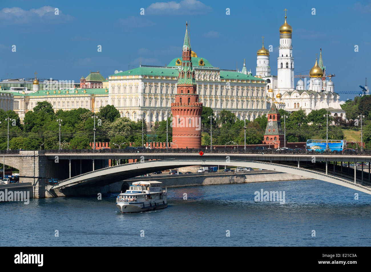 Moscow, Moscva River and Kremlin - Stock Image