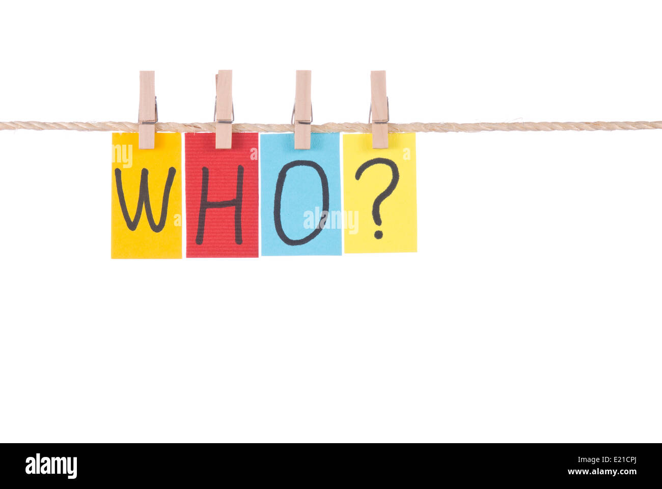 Who, Colorful words hang on rope - Stock Image