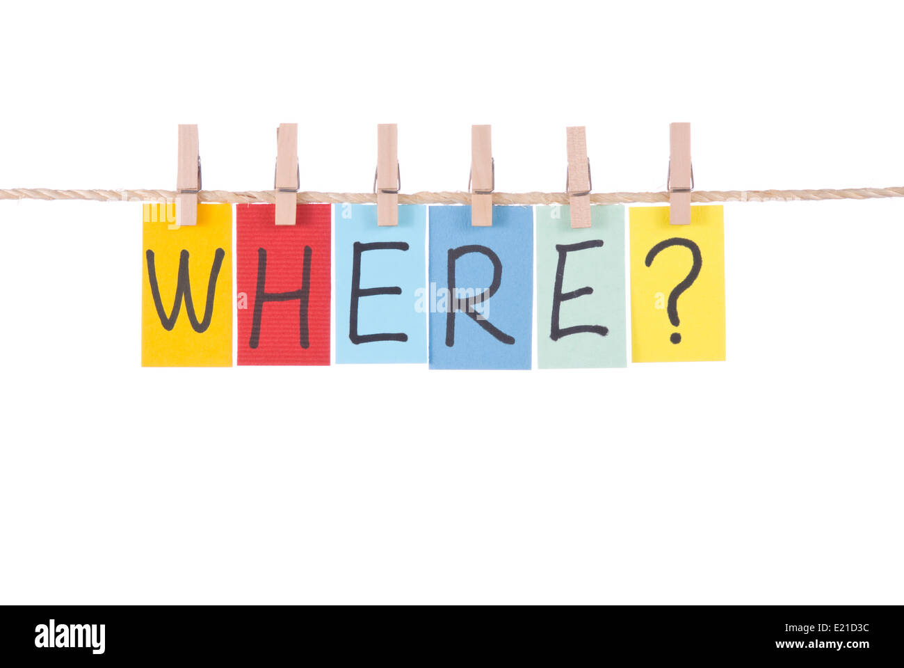 Where, Colorful words hang on rope Stock Photo