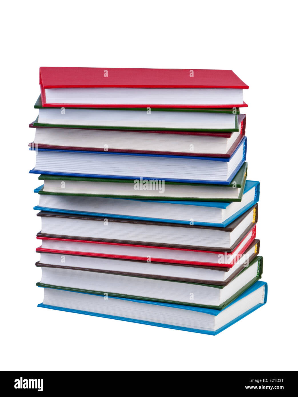 Stack books on white background isolated