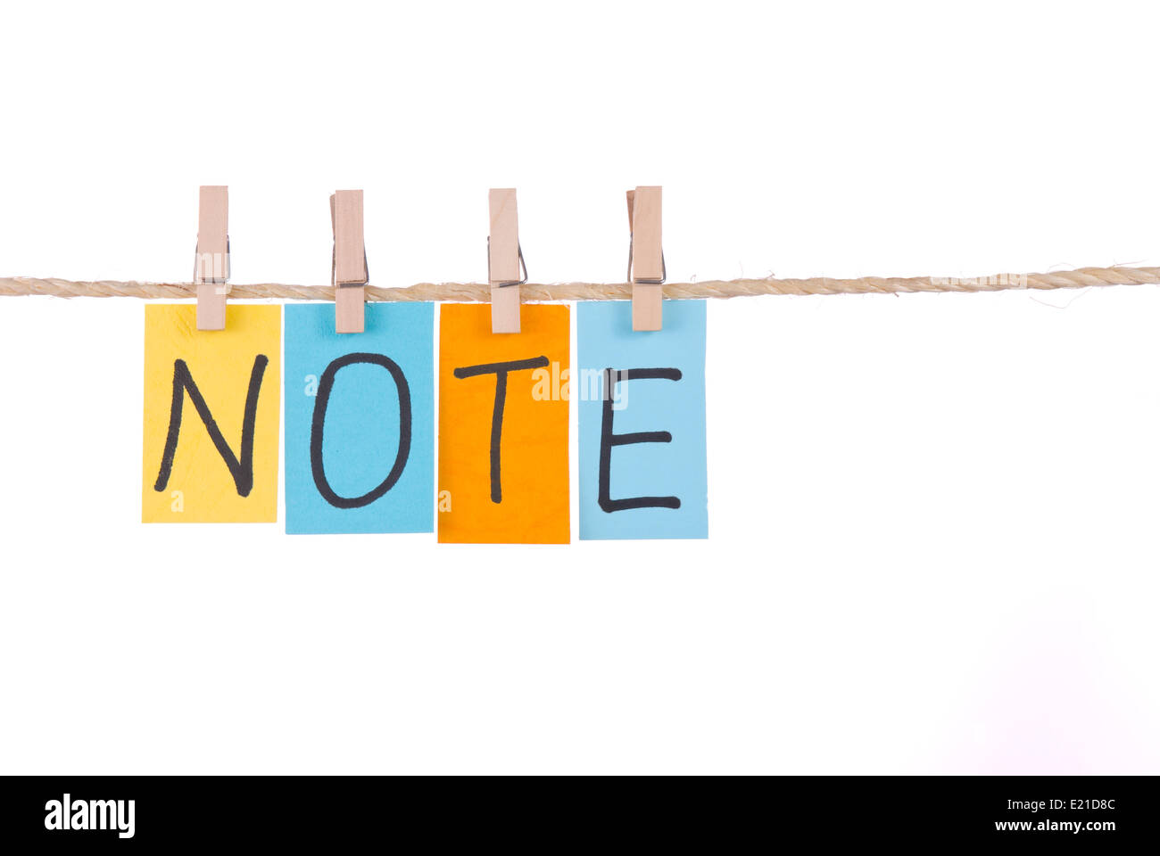 Note, Colorful words hang on rope - Stock Image