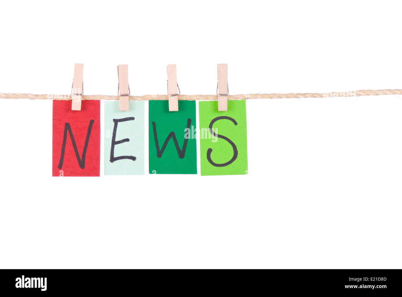 News, Colorful words hang on rope - Stock Image