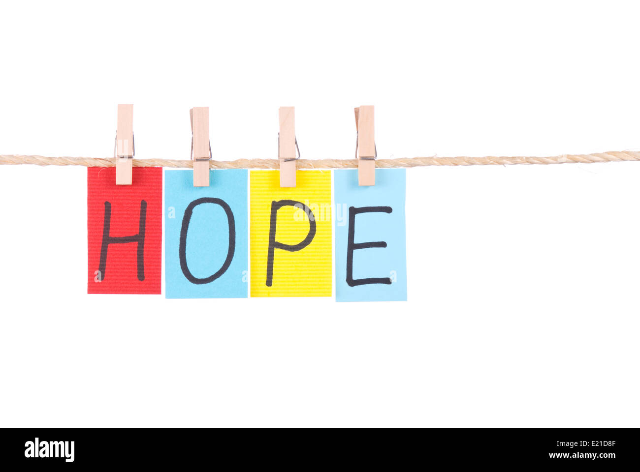 Hope, Colorful words hang on rope Stock Photo