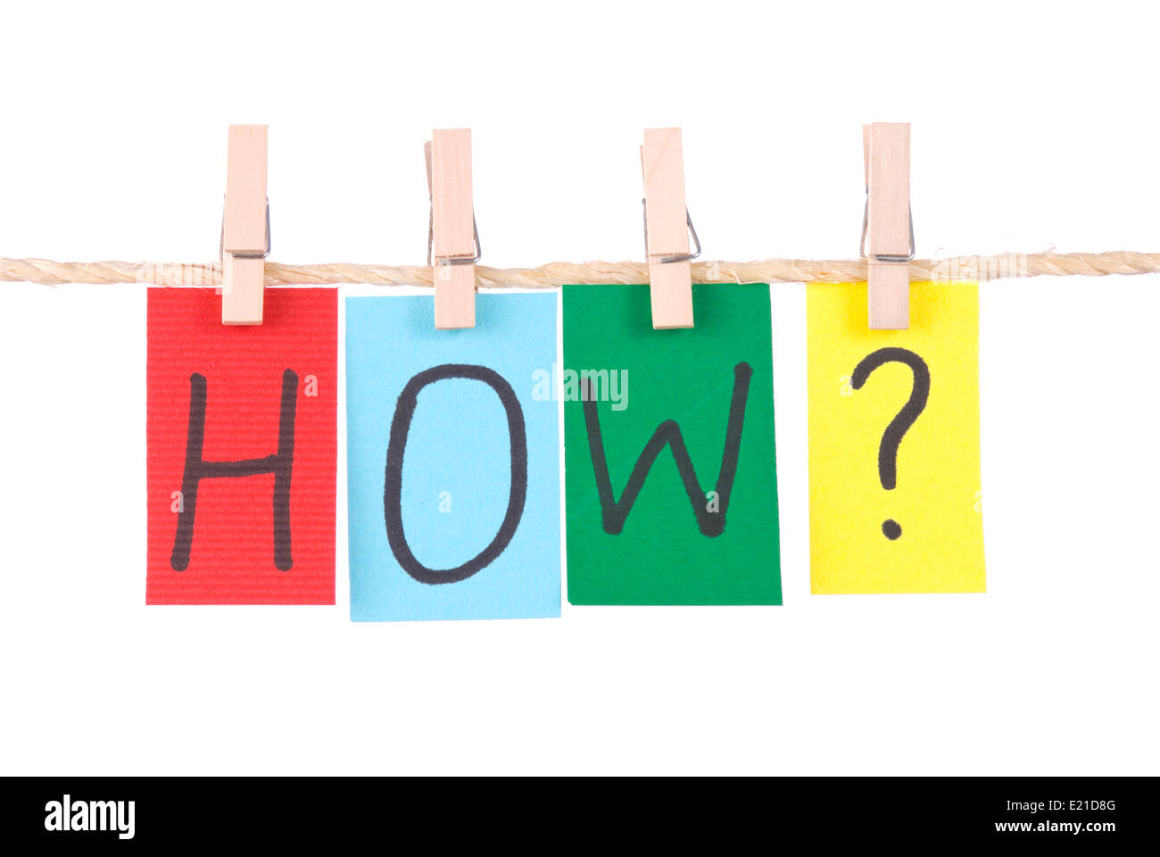 How,  Colorful words hang on rope Stock Photo
