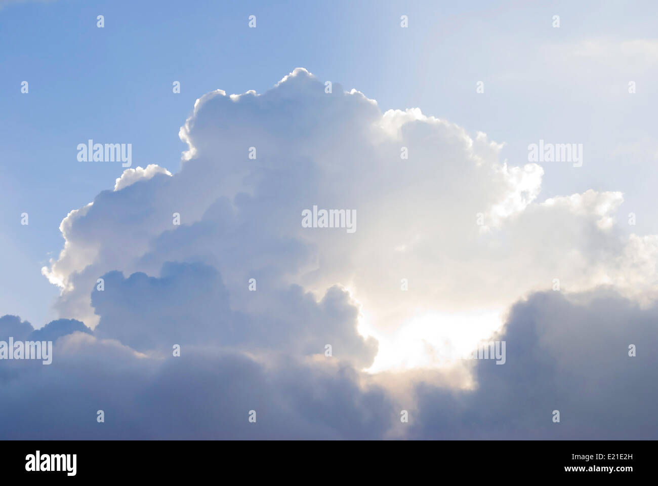 Pure white clouds with mystery sunlight - Stock Image