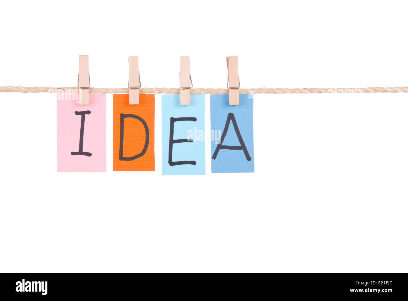 Idea, Colorful words hang on rope - Stock Image
