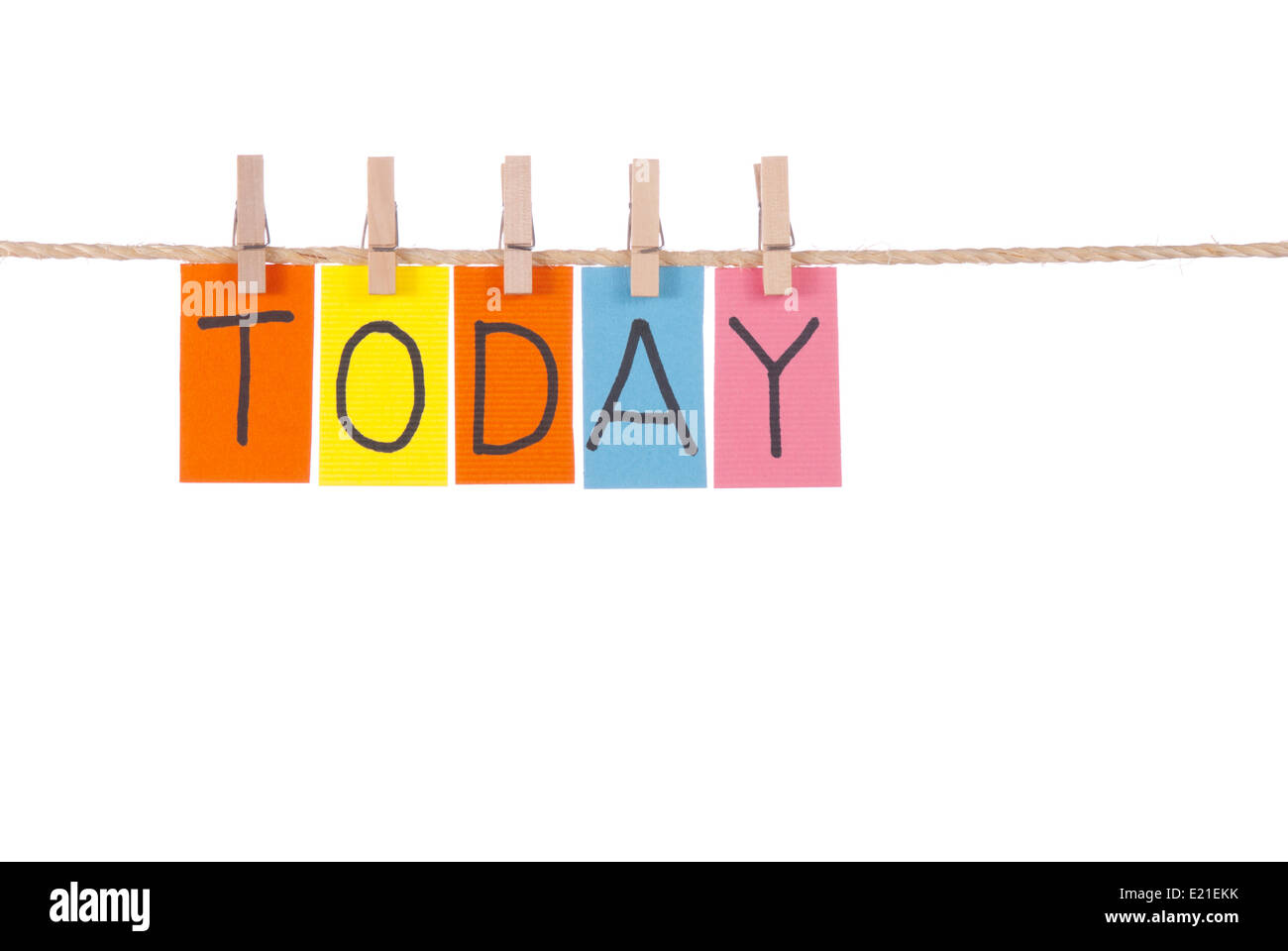 Today, Wooden peg  and colorful words - Stock Image