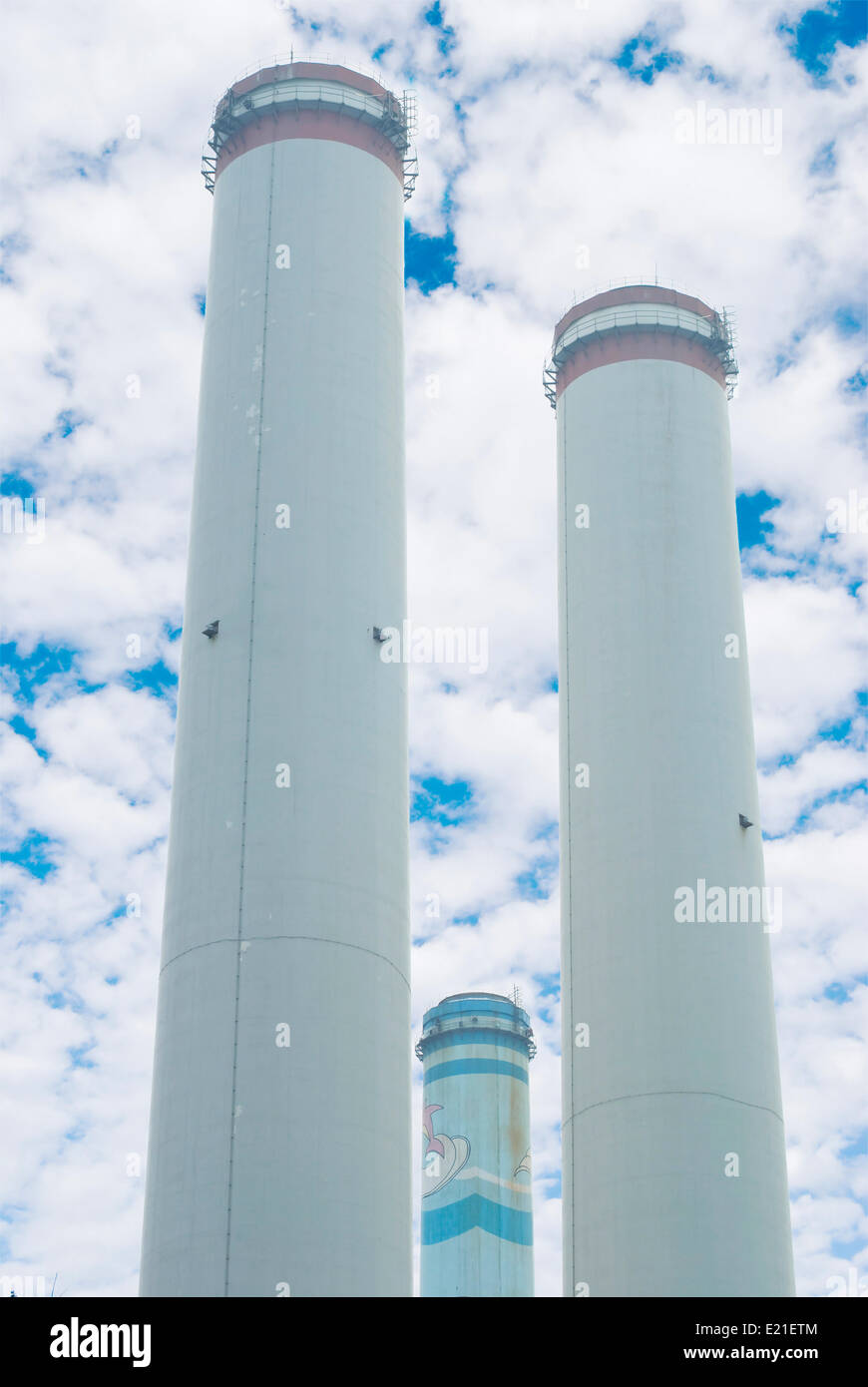 Group chimneys of thermal Power plant - Stock Image