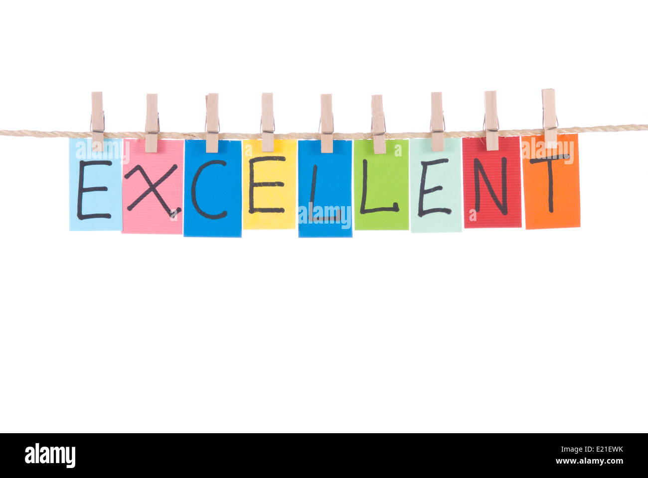 Excellent, words hang by wooden peg - Stock Image
