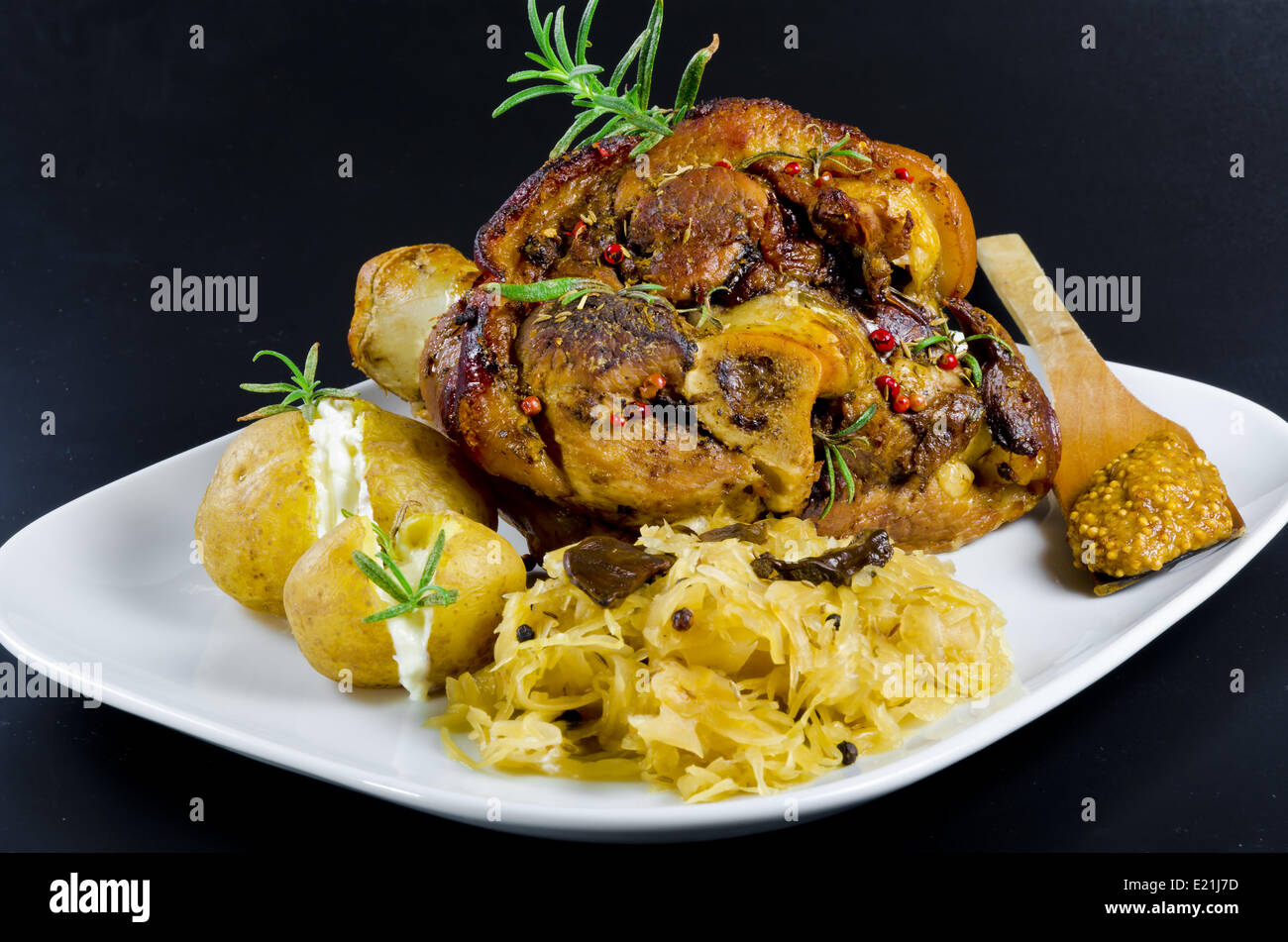Roasted pork knuckle - Stock Image