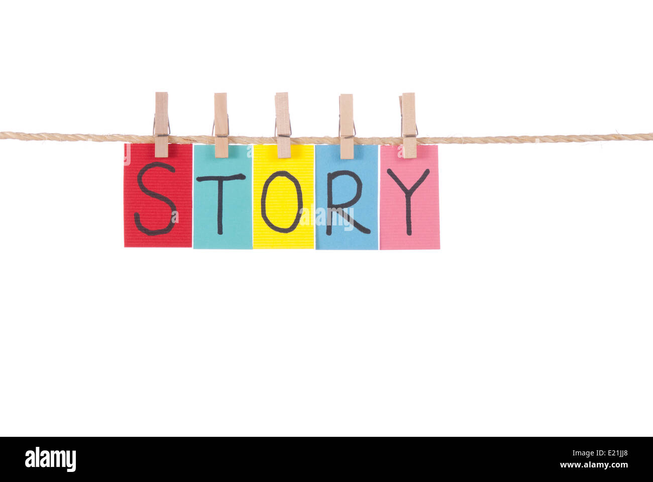 Story, Wooden peg  and colorful words - Stock Image