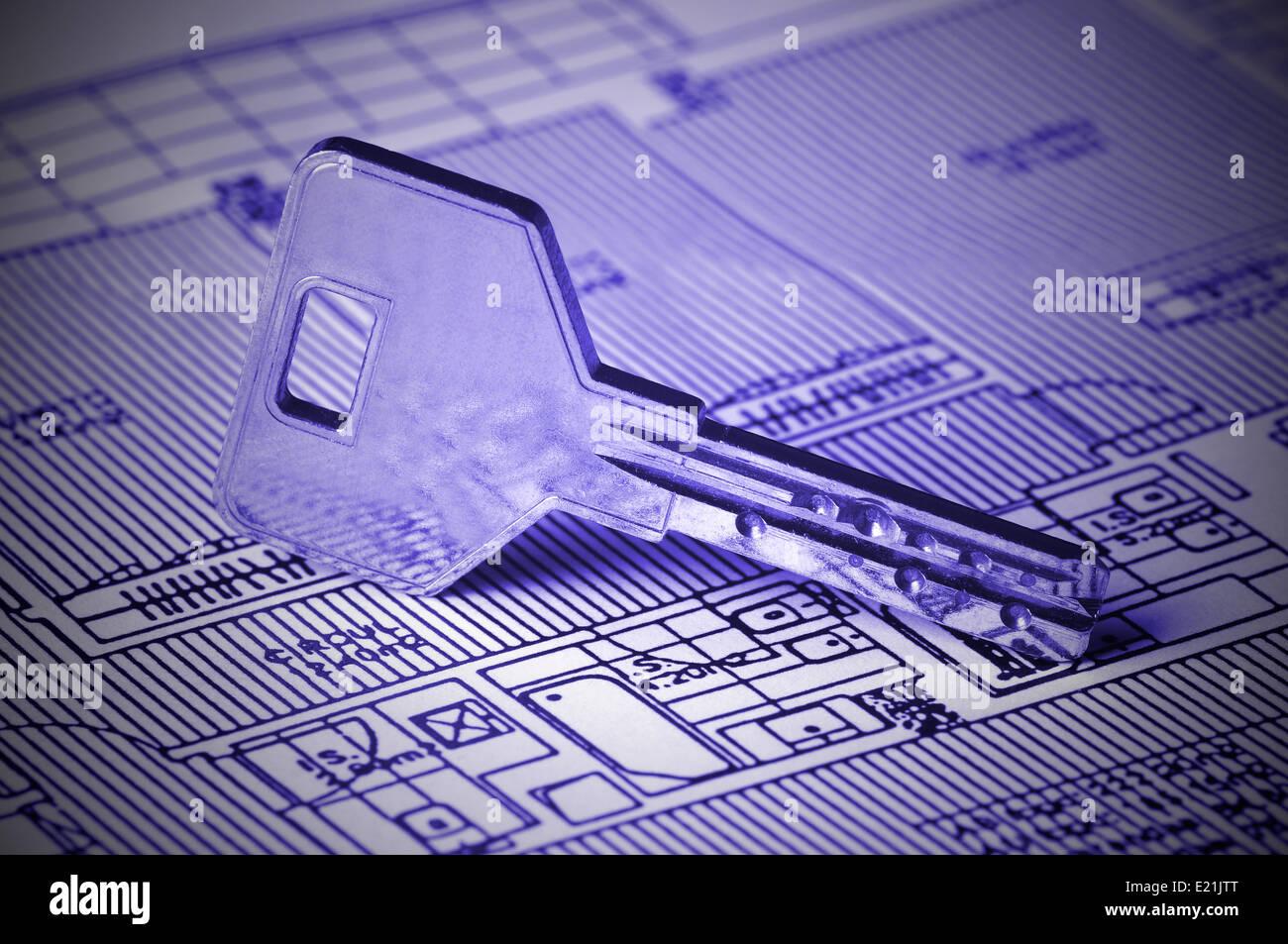 Key on Blueprint - Stock Image