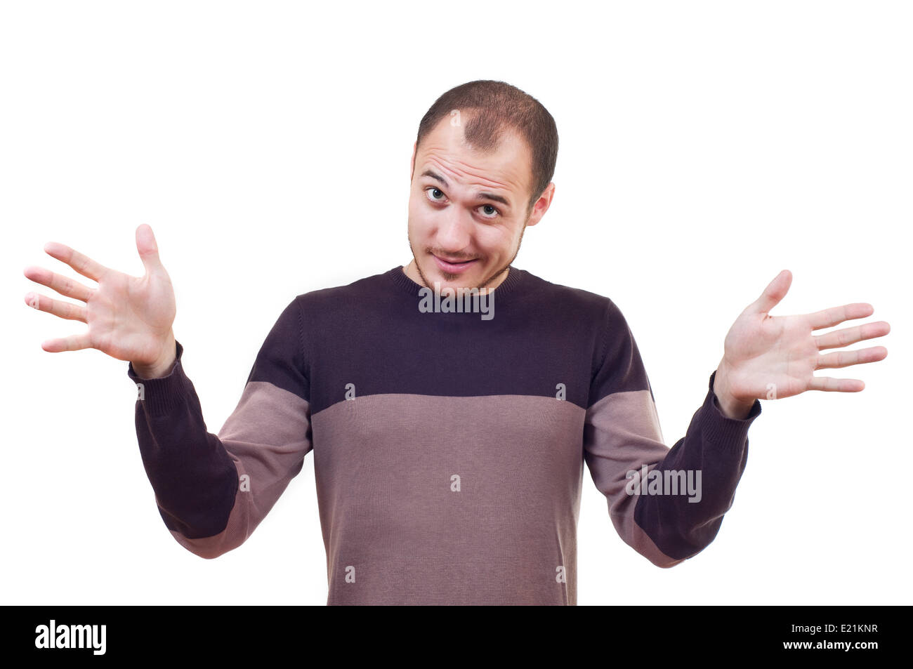 man with arms outstretched Stock Photo