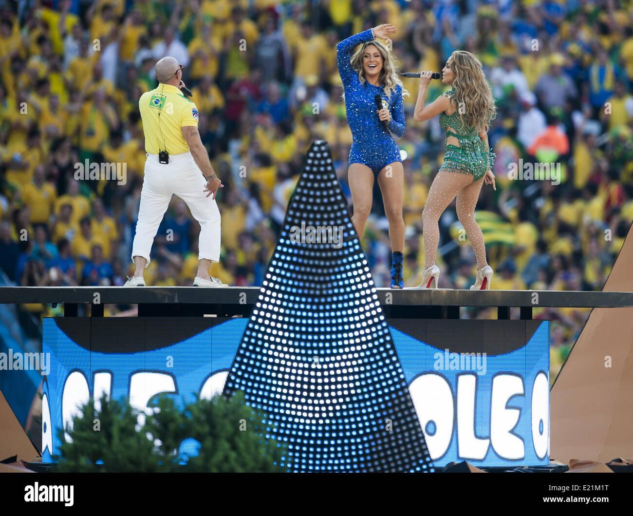Sao Paulo, Brazil. 12th June, 2014. SAO PAULO -12 de junio- BRASIL: Jennifer Lopez en la ceremonia de inauguracion - Stock Image