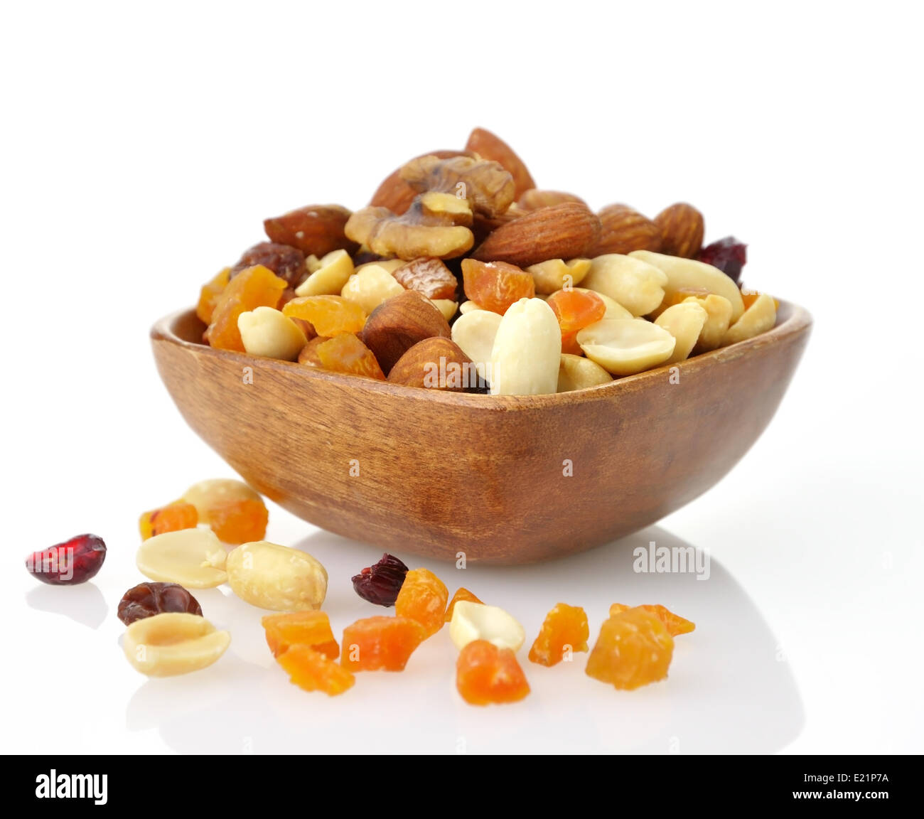 mixed dried fruit, nuts and seeds - Stock Image