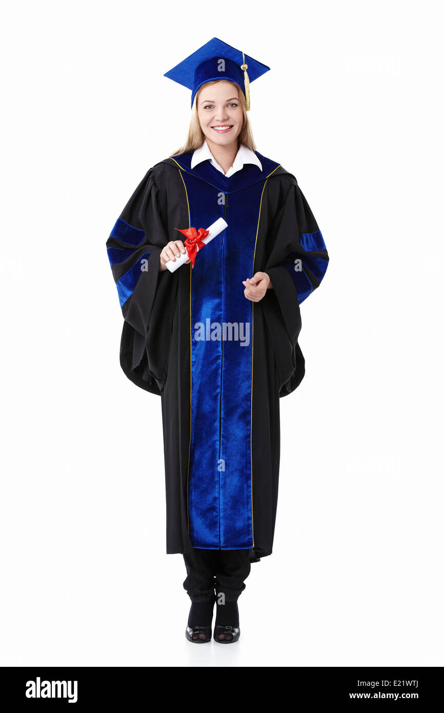 Girl with a diploma - Stock Image