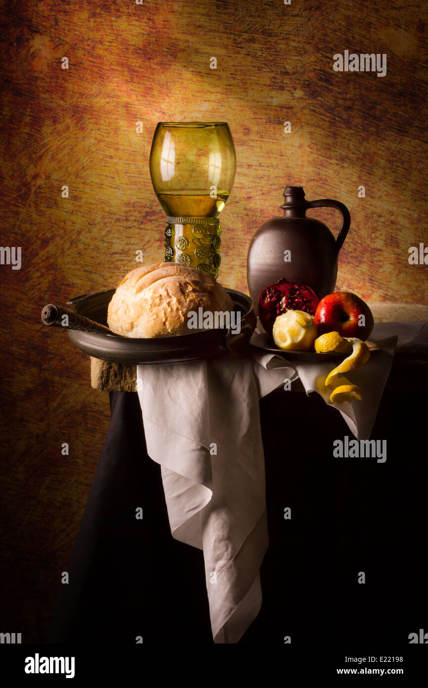 Still Life with  Roemer, Flagon, Bread and Fruit Stock Photo