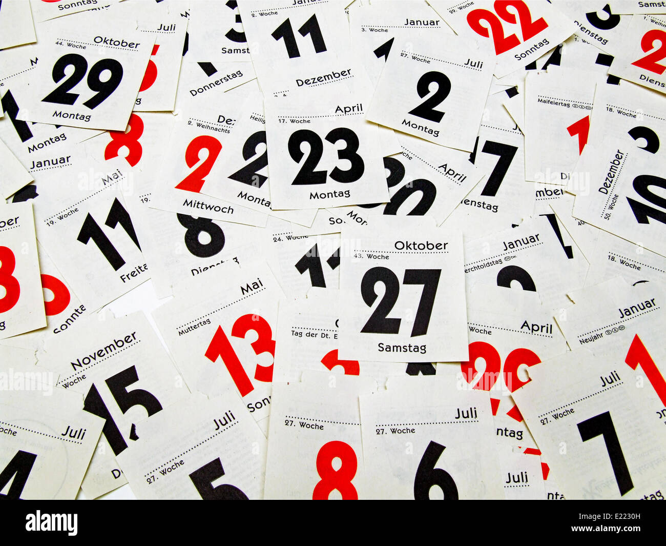 sheet calendar - Stock Image