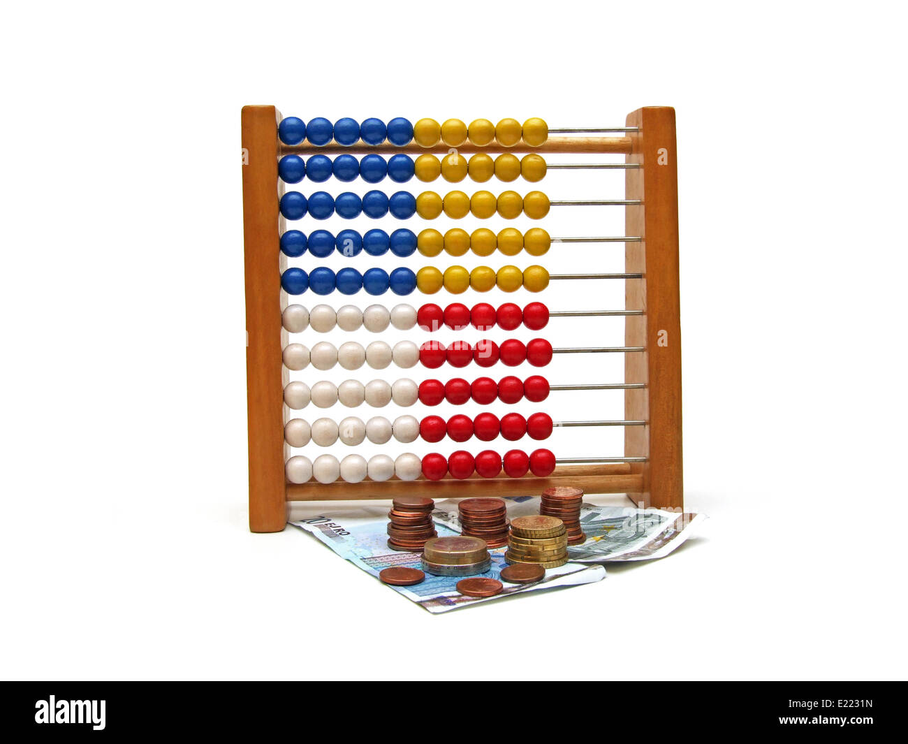 abacus and money - Stock Image