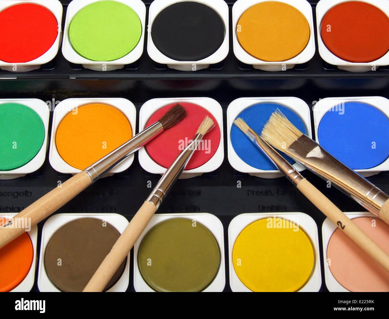 paint and brush Stock Photo