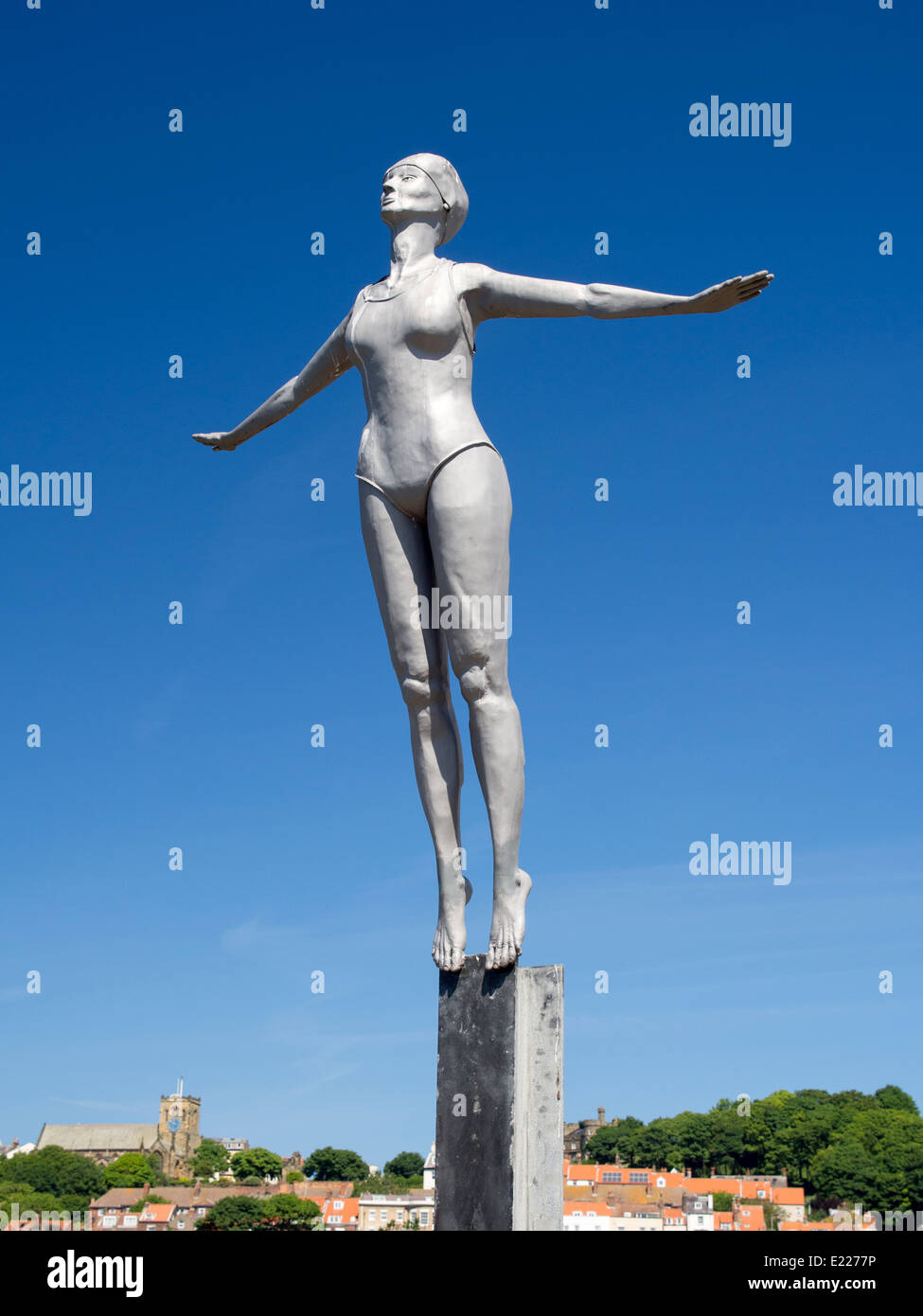 Diving Belle Statue Scarborough Yorkshire UK - Stock Image