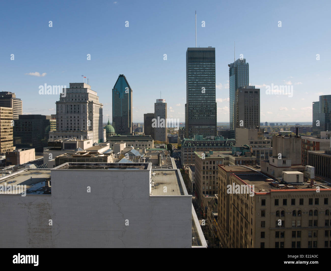 Rooftop view of city of Montreal Canada , skyscrapers seen from the roof on Recidence Inn Marriott - Stock Image