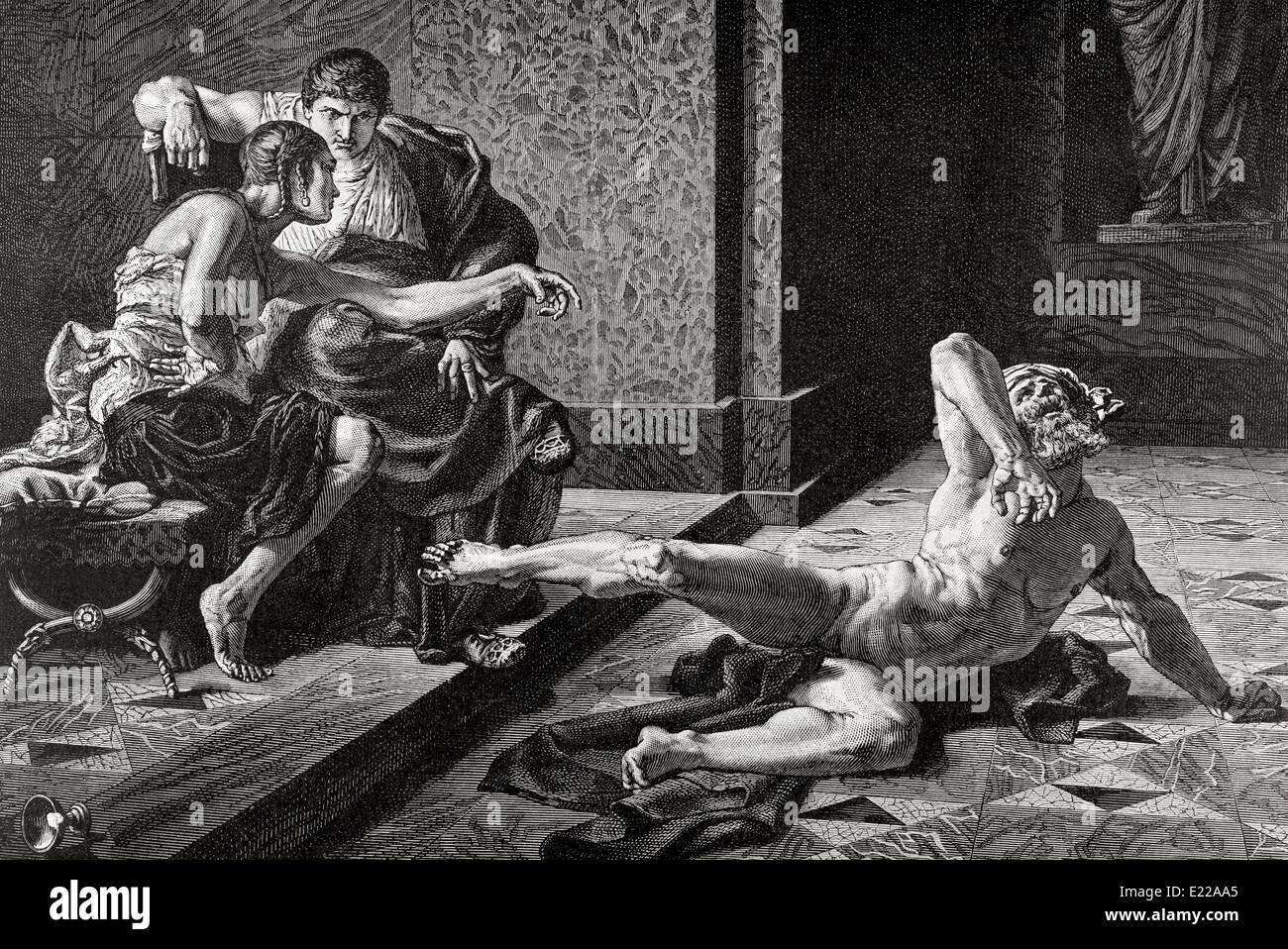 Locusta. Notorious in Ancient Rome for her skill in concocting poisons. Nero and Locusta. Engraving by Duviviso. - Stock Image