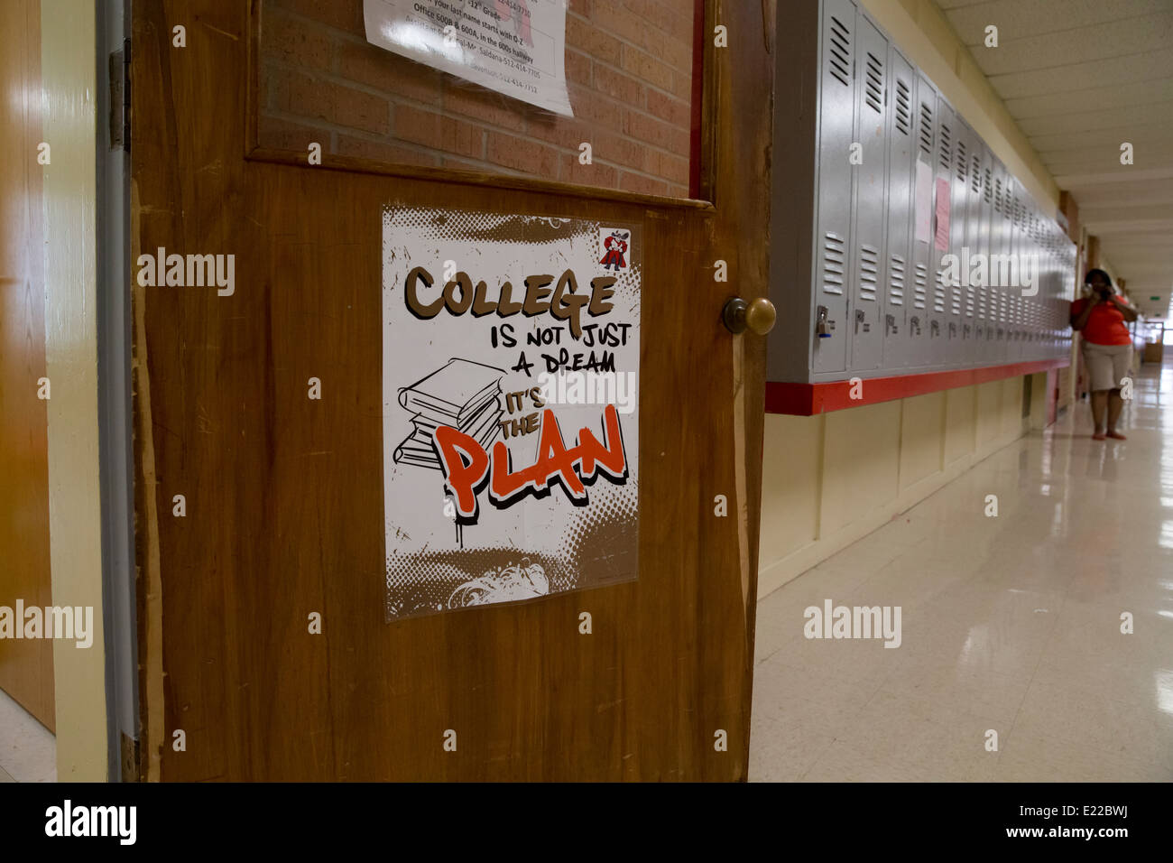 high school classroom door. Poster Displayed On Door Of Classroom In Texas High School Saying College Is Not Just A Dream It\u0027s The Plan O