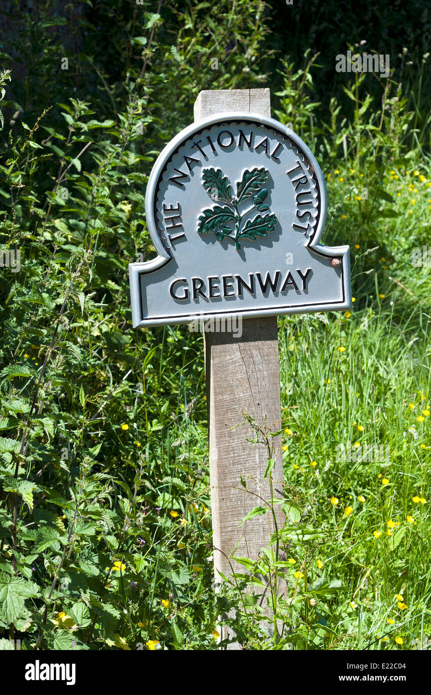 The national trust greenway,It was first mentioned in 1493 as 'Greynway', the crossing point of the Dart - Stock Image