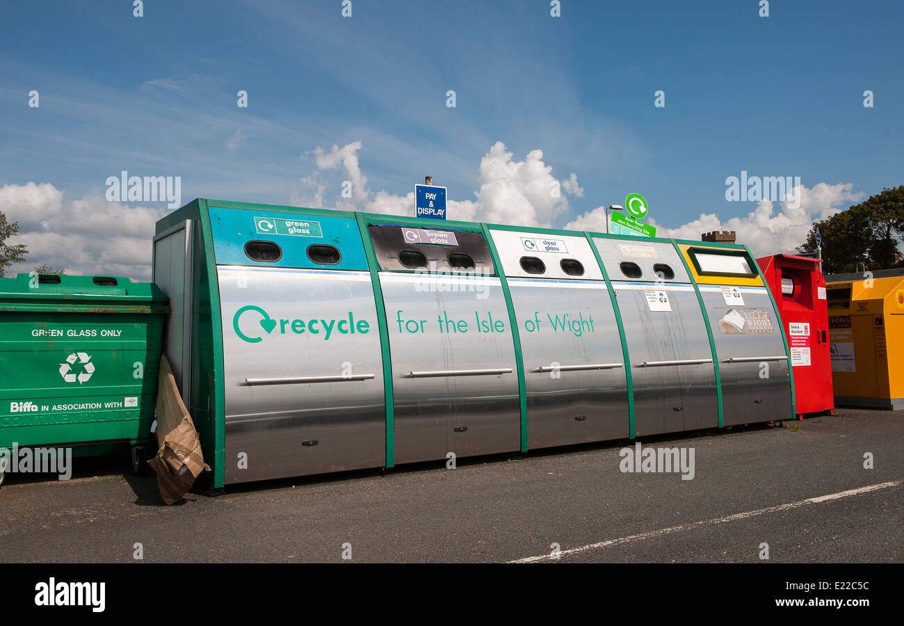 Recycling bottle bank in a car park on the Isle of Wight, England. - Stock Image