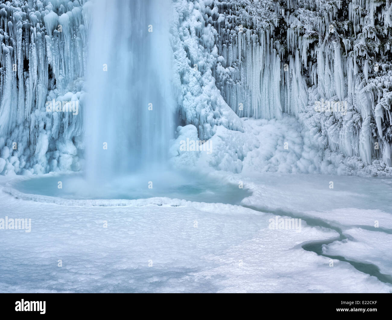 Close up of Horsetail Falls with ice and snow. Columbia River Gorge National Scenic Area, Oregon Stock Photo