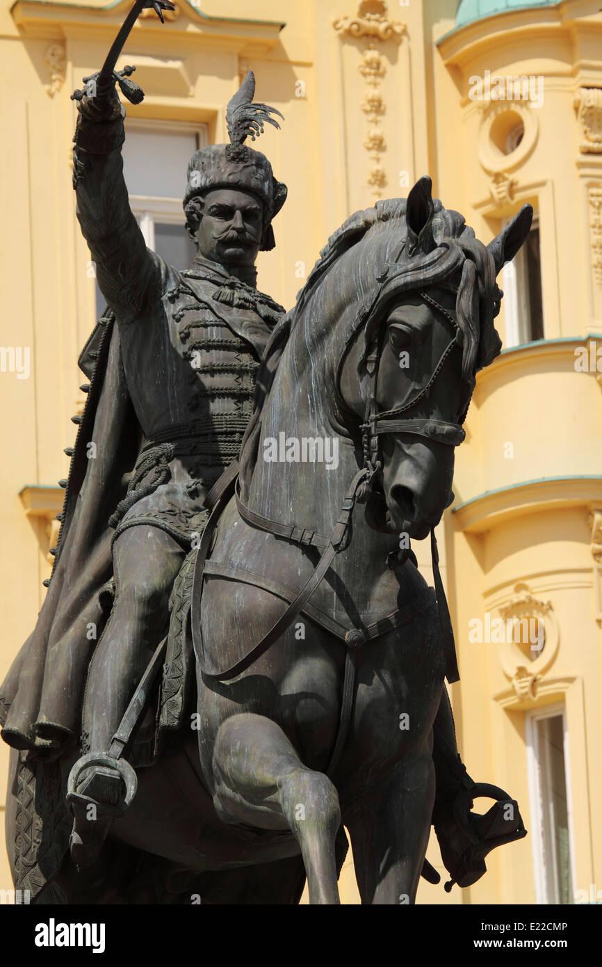 Statue of General Josip Jelacic (1801 - 1959) on Ban Jelacic Square in Zagreb, Croatia. Stock Photo