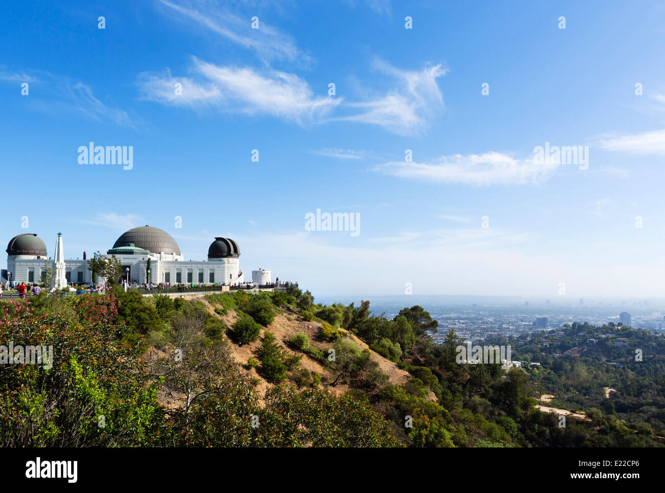 The Griffith Observatory on Mount Hollywood overlooking the city of LA, Griffith Park, Los Angeles, California, - Stock Image
