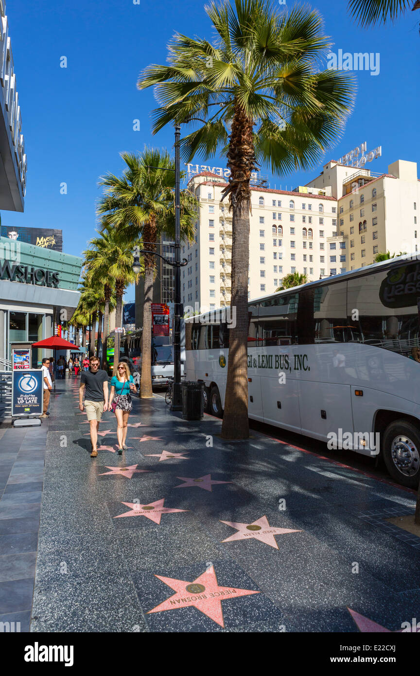 Stars on the Hollywood Walk of Fame with Roosevelt Hotel behind, Hollywood Boulevard, Hollywood, Los Angeles, California, - Stock Image