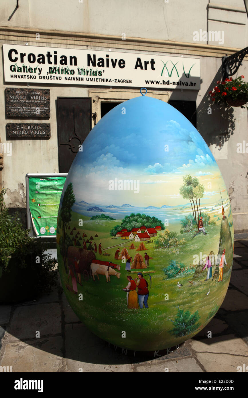 A giant painted egg outside of the Croatian Naive Art gallery in Zagreb, Croatia. Stock Photo
